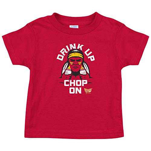 Rookie Wear by Smack Apparel Kansas City Football Fans. Drink Up Chop On! Red Onesie or Toddler Tee (NB-4T)