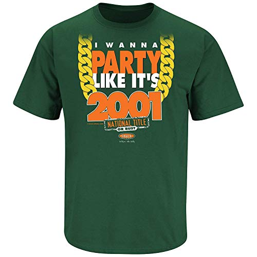 Smack Apparel Miami Football Fans. I Wanna Party Like It's 2001 Gold Chain. Green T-Shirt