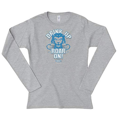 Detroit Pro Football Unlicensed Ladies Apparel | Drink Up, Roar On! (Bella Heather) Ladies Shirt