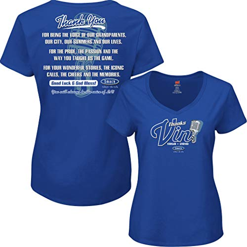 Smack Apparel Los Angeles Baseball Fans. Vin Scully Tribute. Blue Ladies Shirt (Sm-2x)