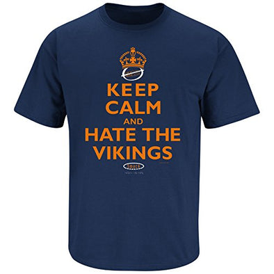 Smack Apparel Chicago Football Fans. Keep Calm and Hate The Vikings (Navy) T-Shirt (Sm-5X)