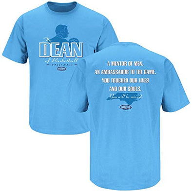Smack Apparel North Carolina Basketball Fans. The Dean of Basketball. Dean Smith Tribute Blue T-Shirt (Sm-5X)