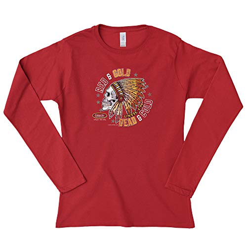 Smack Apparel Kansas City Football Fans. Red and Gold 'Til I'm Dead and Cold Red Ladies Shirt (Xs-2x)