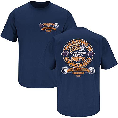 Chicago Football Fans. Tailgating in Chicago Navy T-Shirt (Sm-5X) (Short Sleeve, 2XL)