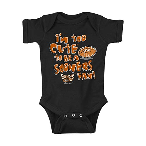 Texas Football Fans. I'm Too Cute to be a Sooners Fan! Onesie or Toddler T-Shirt