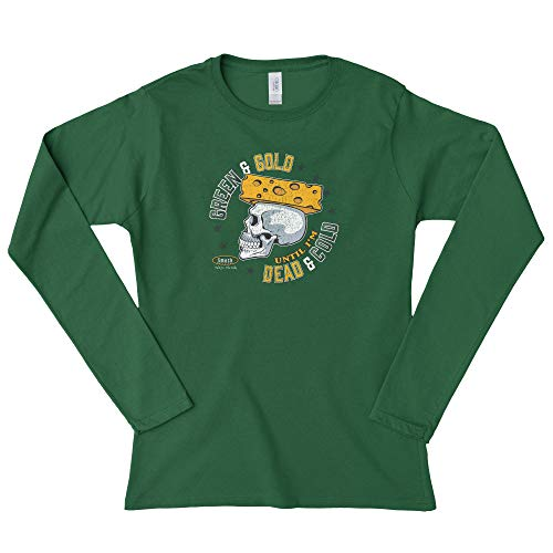 Green Bay Pro Football Unlicensed Ladies Apparel | Green & Gold Until I'm Dead & Cold Ladies Shirt