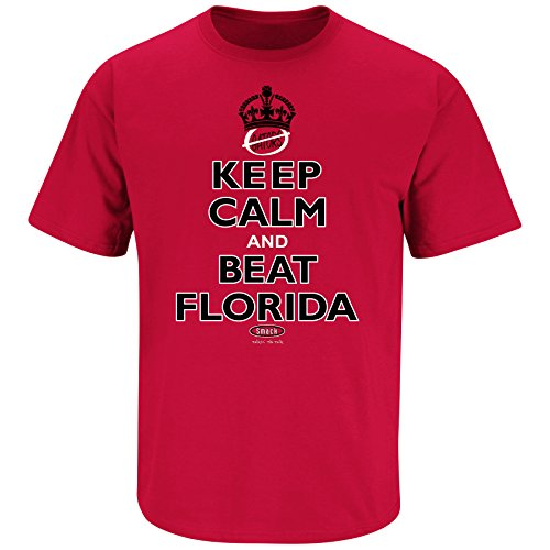 Smack Apparel Georgia Bulldogs Fans. Keep Calm and Beat Florida. Red T-Shirt (Sm-5X)