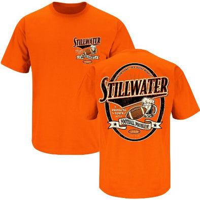 Smack Apparel Oklahoma State Football Fans. Stillwater Drinking Town Orange T-Shirt (S-3X)