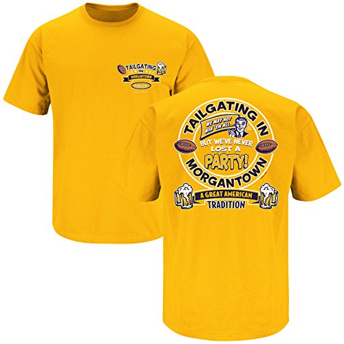 Smack Apparel West Virginia Football Fans. Tailgating in Morgantown Gold T-Shirt (S-3X)