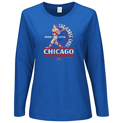 Smack Apparel Chicago Baseball Fans. The Curse Ends Championship Ladies Long Sleeve T-Shirt (Sm-2X)