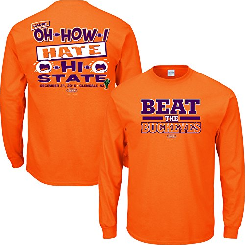 Clemson Football Fans. Beat The Buckeyes Orange Long Sleeve T-Shirt (S-3X)