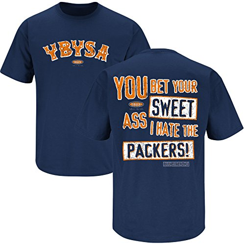 Smack Apparel Chicago Football Fans. YBYSA I Hate the Packers Navy T-Shirt (S-5X)