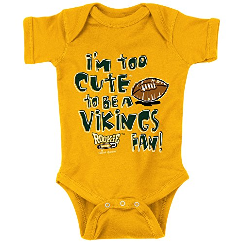 Green Bay Fans. I'm Too Cute (Anti-Vikings) Baby Onesie or Toddler T-Shirt