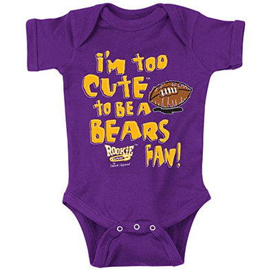 Unlicensed Minnesota Pro Football Baby Bodysuits or Toddler Tees | Too Cute to be a Bears Fan! (Anti-Chicago)