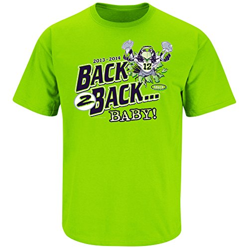 Seattle Seahawks Fans. Back 2 Back Baby Championship Lime T-Shirt (S-5X)