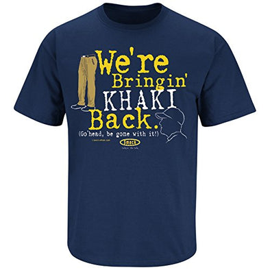 Smack Apparel Michigan Football Fans. We're Bringing Khaki Back. Navy T Shirt (Sm-5X)