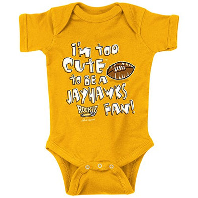 Missouri Tigers Fans. Too Cute To Be a Jayhawks Fan Gold Toddler Tee