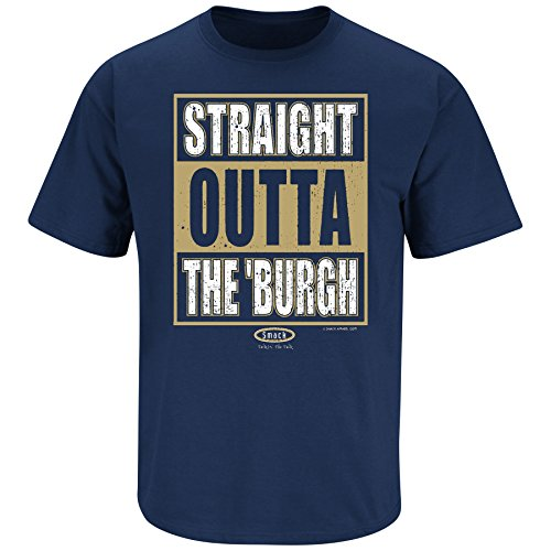Smack Apparel Pittsburgh Football Fans. Straight Outta Pittsburgh Navy T Shirt (Sm-5X)