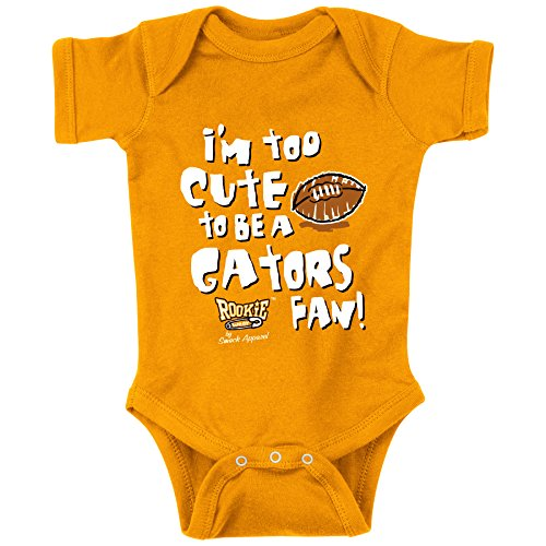 Tennessee Volunteers Fans. I'm Too Cute to be a Gators Fan. Orange Onesie (NB-18M) or Toddler Tee (2T-4T).