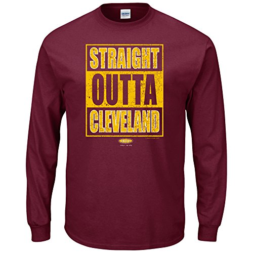 Smack Apparel Cleveland Basketball Fans. Straight Outta Cleveland. Maroon Long Sleeve T Shirt (Sm-5X)