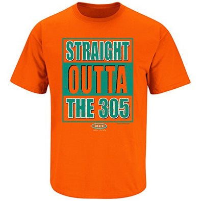 Smack Apparel Miami Football Fans. Straight Outta The 305 Orange T Shirt (Sm-5X)