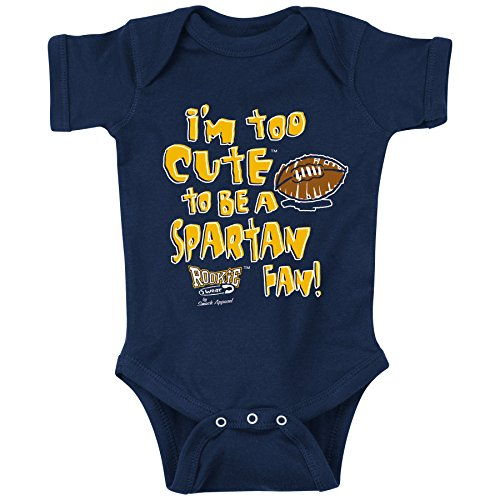 Unlicensed Michigan College Sports Baby Bodysuits or Toddler Tees | Too Cute to be a Spartan Fan!