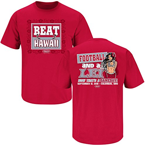 Ohio State Buckeyes Fans. Beat Hawaii Scarlet T Shirt (Sm-5x)