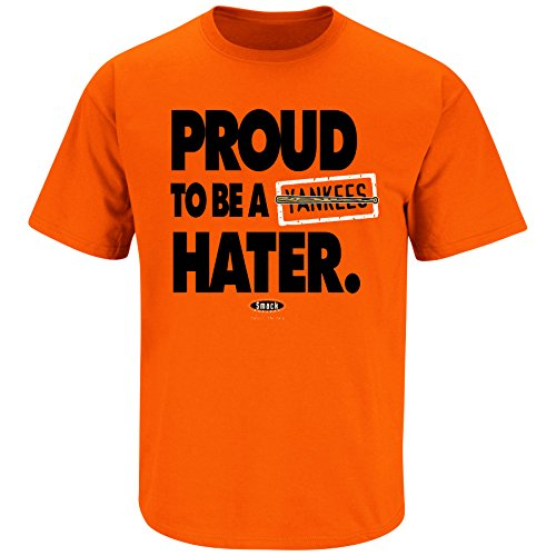 Smack Apparel Baltimore Baseball Fans. Proud to be a Hater Orange T-Shirt (S-5X)