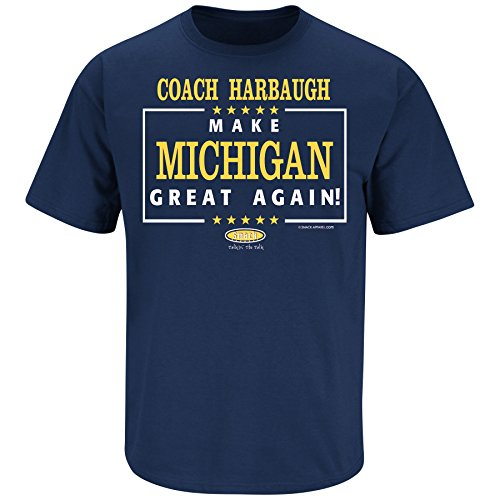 Smack Apparel Michigan Football Fans. Make Michigan Great Again. Navy T Shirt (Sm-5X)