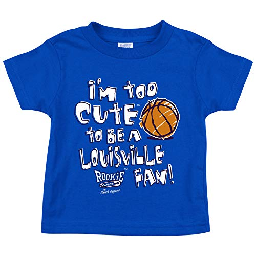 Smack Apparel Kentucky Basketball Fans. I'm Too Cute to be a Louisville Fan! Royal Onesie (NB-18M) or Toddler Tee (2T-7T)