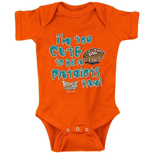 Unlicensed Miami Pro Football Baby Bodysuits or Toddler Tees | I'm Too Cute to be a Patriots Fan