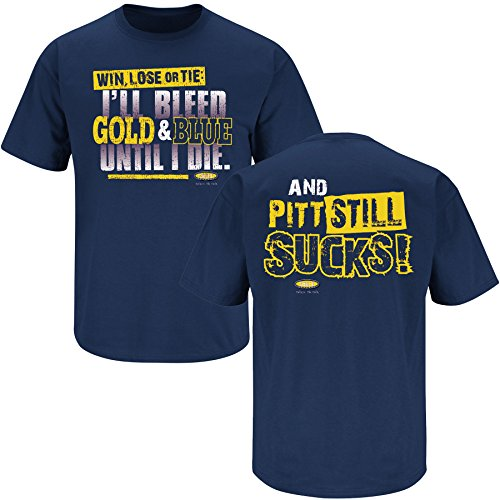 Smack Apparel West Virginia Football Fans. I Bleed Blue and Gold Till I Die. Navy T Shirt (Sm-5X)
