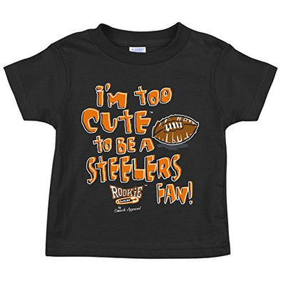 Cincinnati Football Fans. Too Cute to be a Steelers Fan (Anti-Steelers) Baby Onesie or Toddler T-Shirt