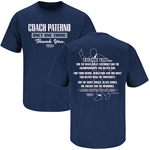 Penn State Football Fans. Coach Paterno Thank You Navy T Shirt (XS-5X)
