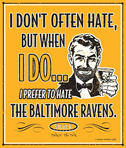 Smack Apparel Pittsburgh Steelers Fans. I Prefer to Hate The Baltimore Ravens Gold 12'' X 14'' Metal Man Cave Sign