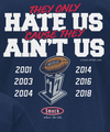 New England Football Fans. Dynasty. Hate 'Cause They Ain't Us Shirt or Hoodie