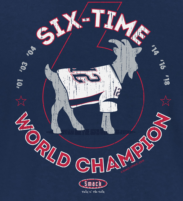 New England Pro Football Apparel | Shop Unlicensed New England Gear | The GOAT 6-Time World Champions Shirt