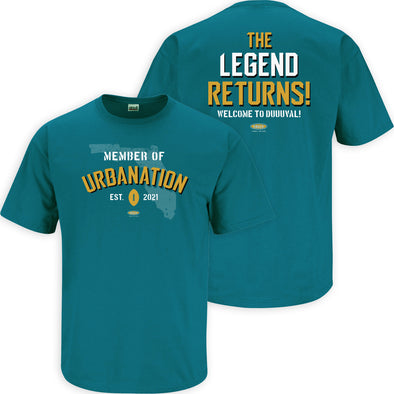 Urbanation: The Legend Returns Shirt | Jacksonville Pro Football Apparel | Shop Unlicensed Jacksonville Gear