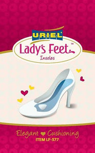 Uriel Lady's Feet Insoles provide heel-to-toe motion control for foot and lower back pain relief. These ultra-thin insoles helping to correct foot misalignment from the heel to the forefoot.. Washable & Reusable. The shoe insoles prevent and protects while offering relief and comfort fr pressure and shock to the heel metatarsal. Exceptional shock absorbency. Sold as a pair.
