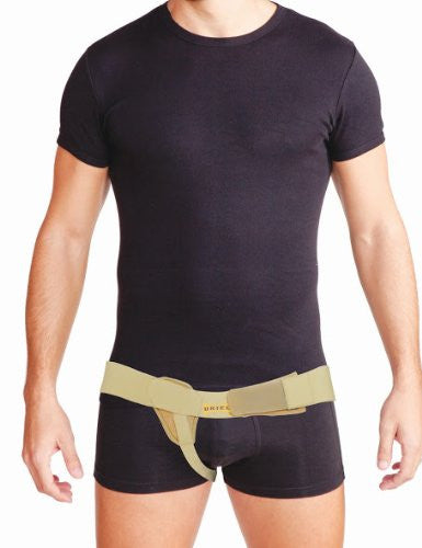 Uriel Meditex  Inguinal Hernia Belt contains a soft pad that applies gradual pressure and support to the weakened muscles of the groin with focused compression on the hernia. The inguinal hernia belt is designed to provide relief from a reducible inguinal hernia - post or pre-surgery. Will provide you with the support and comfort needed to maintain your active lifestyle. Can be used while swimming or showering