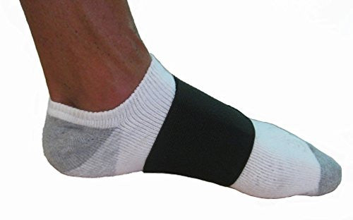 FlexaMed Adjustable Arch Band with PORON Cushion alleviates midfoot arch pain often caused by plantar fasciitis, fallen arches, flat feet, heel, toe, ball-of-foot or bunion pain, plantar fascial fibromatosis (Ledderhose's disease) and heel spurs.  Shock absorbing PORON cushion protect feet against impact.  Lightweight foot band, comfortable, easy to adjust, and easy to walk with while on. This soft elastic bandage gently compresses the midfoot to provide support and stability.   Sold as a pair.