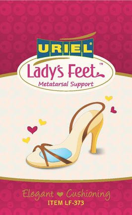 Uriel Lady's Feet Silicone Metatarsal Supports for High-Heeled Shoes - Simply insert this silicone pad into your shoe and feel the relief from discomfort. The unique metatarsal product's design redistributes weight and absorbs foot shock to reduce forefoot pain. Thin, clear pad is invisible even in open toe shoes. Silicone absorbs shock and helps redistribute pressure. The unique product's design located behind the metatarsal bone to relieve pressure and prevent calluses.