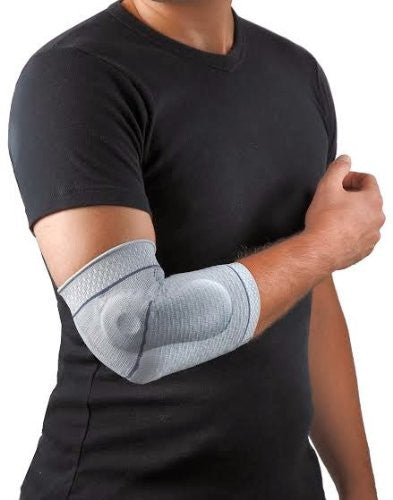 Uriel Elbow Support with Silicone Cushions are made with two contoured pads that prevent vibration and stabilize the elbow. Helps relieve swelling during sports and everyday activity.  The cushions provide compression to the soft tissue of the wrist leading to increased circulation, reducing swelling and edema. Increases blood flow and oxygen to soft tissue injuries. Helps prevent further injury and support and promote elbow recovery. Recommended for elbow strains and sprains, tendinitis, tennis elbow,