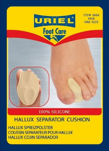 Uriel Silicone Hallux Valgus Bunion Separator Cushion Pair. Uriel Hallux Valgus Separator Cushion combines two products - a toe separator and a metatarsal support with adjustable cushion - into one solution.  Gently returns big toe to its natural position Soft silicone gel Prevents pain and eases discomfort from pressure or rubbing between the toes Combined cushion lifts the front arch under the metatarsals and prevents pressure on the bunion.