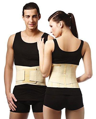 Medical Grade LUMBAR SUPPORT BRACE, Back Belt with Stiff Splints & Double Pull Straps