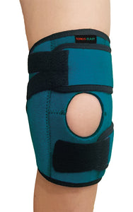 FlexaMed's Tonus Elast adjustable kids knee brace offers easy comfort and stability to the knee. 3 hook & loop straps attached to the brace help to adjust the level of compression according to the users need and dual side stabilizers make it stay on place without restricting the range of motion. Wear either on the right and left knee and use the ligament knee brace for sports activities such as football, basketball, volleyball, soccer dancing, exercise, gymnastics, or any other kid's sport activity.