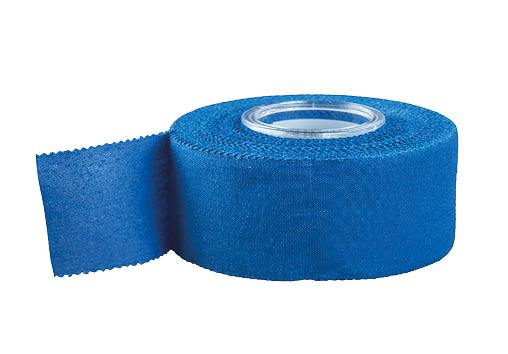 Blue URIEL Sports Adhesive Cotton Athletic Tape 2 cm x 7.3 m (3/4 in x 24 ft). Suitable for use in water and wet conditions May also be used on athletic equipment for better grip such as tennis rackets, golf clubs, baseball bats and hockey sticks