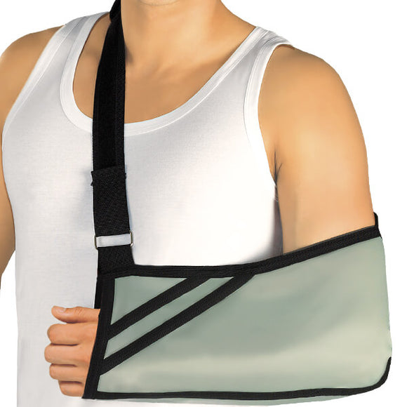 Tonus Elast Arm Sling provides relief and protection while you're recuperating and healing from an arm or hand fracture, sprain or surgery Helps distribute weight to the shoulder and back Adjustable Sling for Adults or Kids, Pre-or Post Surgical Uses.  Reversible for the right or left arm