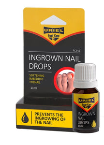 Uriel Ingrown Toenail Drop for softening embedded toe nails and calloused tissue, prevents the in growing of toenail and enables the straightening of the nails.  Uriel Meditex ingrown nail drops helps to eliminate painful ingrown toenails. Prevent onychocryptosis.  Prevent painful ingrown toe nail. Soften toe nail