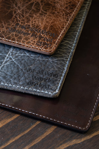 Inscription text on brown leathers